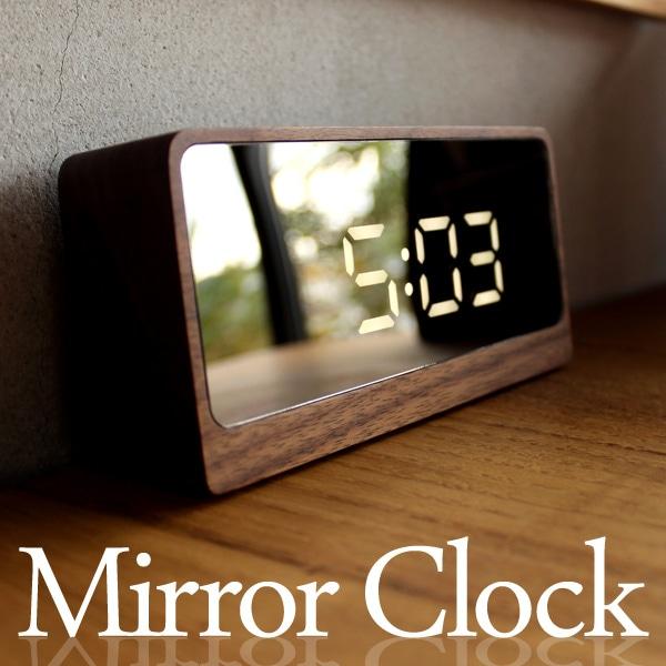鏡にデジタル時計が浮かび上がる幻想的な木製デジタルミラークロック