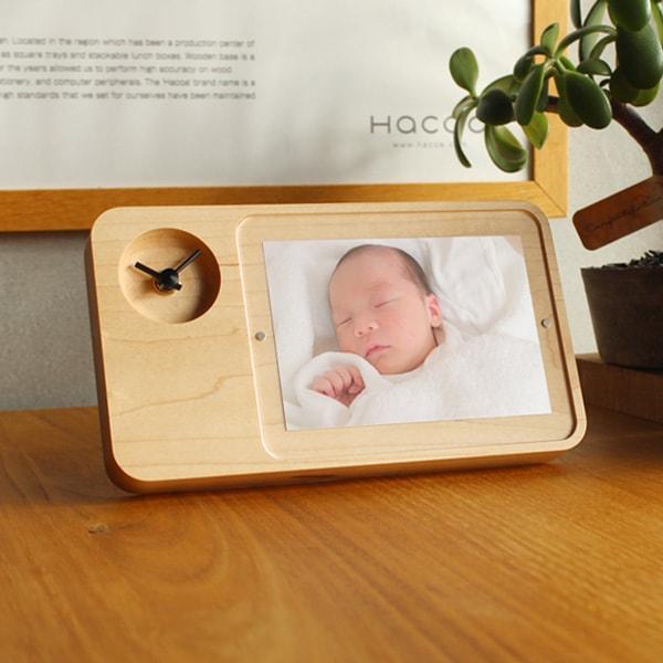 「PhotoStand Clock」名前や日付が入れられる、結婚式・ブライダル・両親ギフトにおしゃれなフォトフレーム・フォトスタンドクロック/木製写真時計