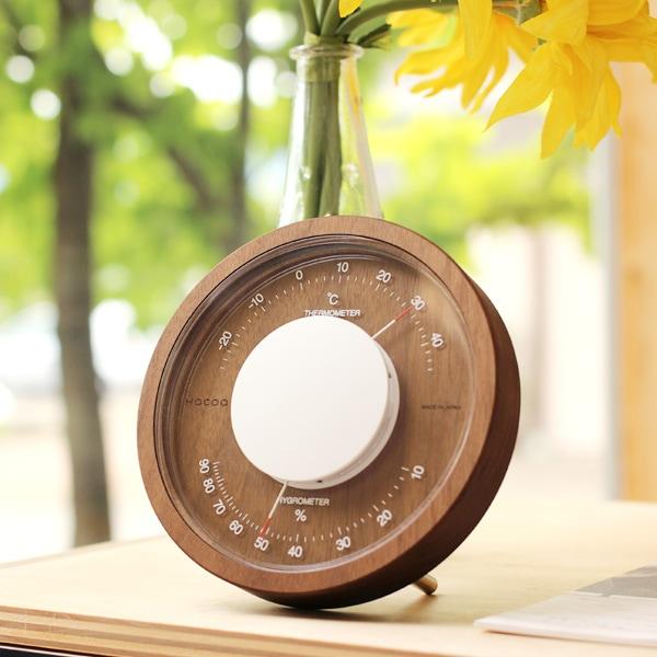 置き型としてインテリアになる木製アナログ温湿度計