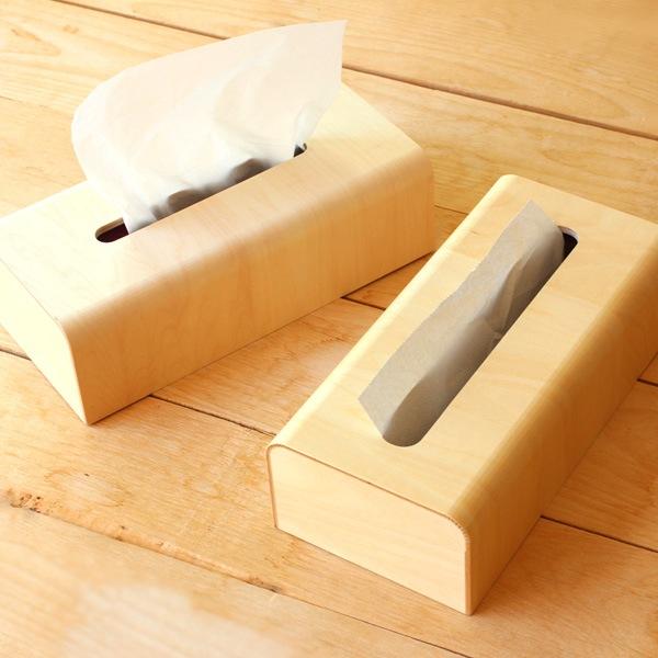 優しい曲線のおしゃれな木製ティッシュケース