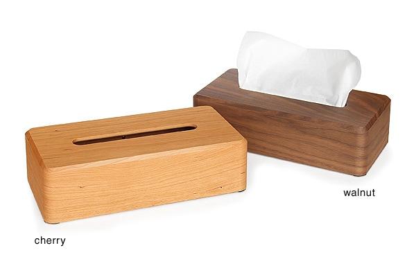 チェリー・ウォールナットの木製ティッシュボックス