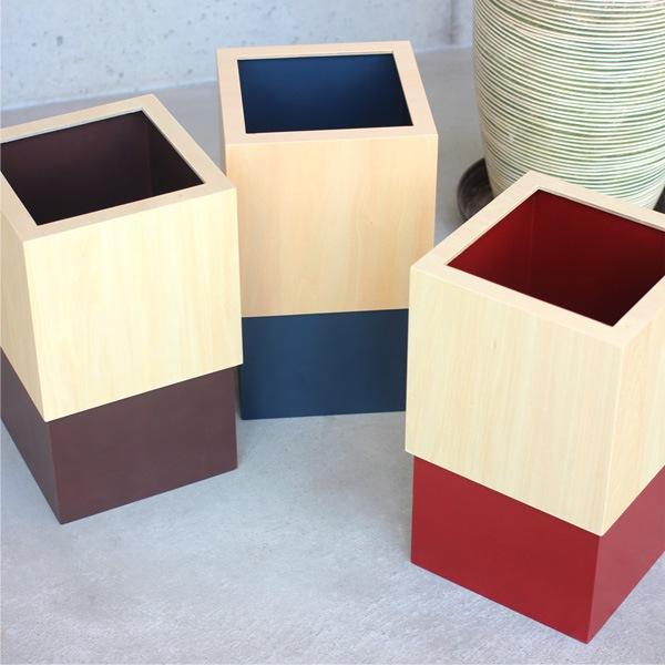カラーとナチュラルなシナ材が美しい木製ダストボックス