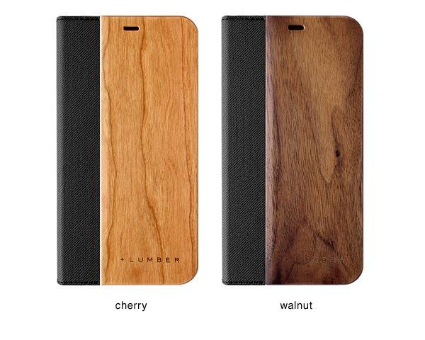 チェリー・ウォールナットの天然木板材をアクセントとしてiPhoneケースにプラス
