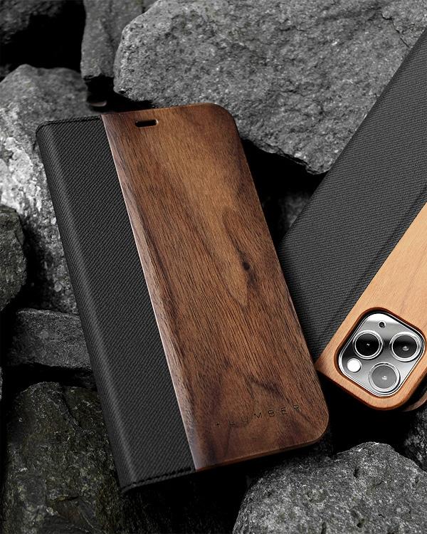 手帳型の木製スマートフォンケース iPhone 11 ProMax専用