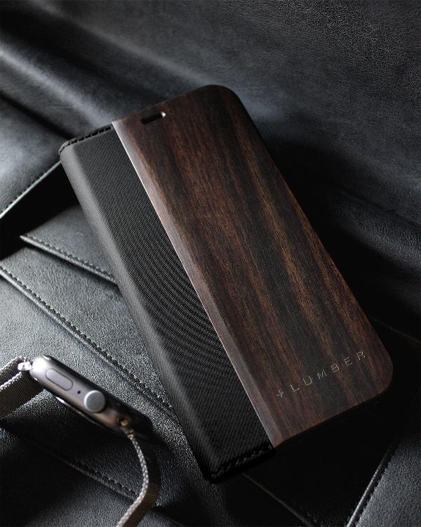 手帳型の木製スマートフォンケース iPhone 12/12Pro専用