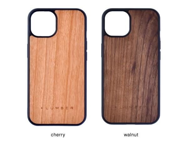 iPhone 13用ケースはチェリー・ウォールナットの天然木からお選び頂けます
