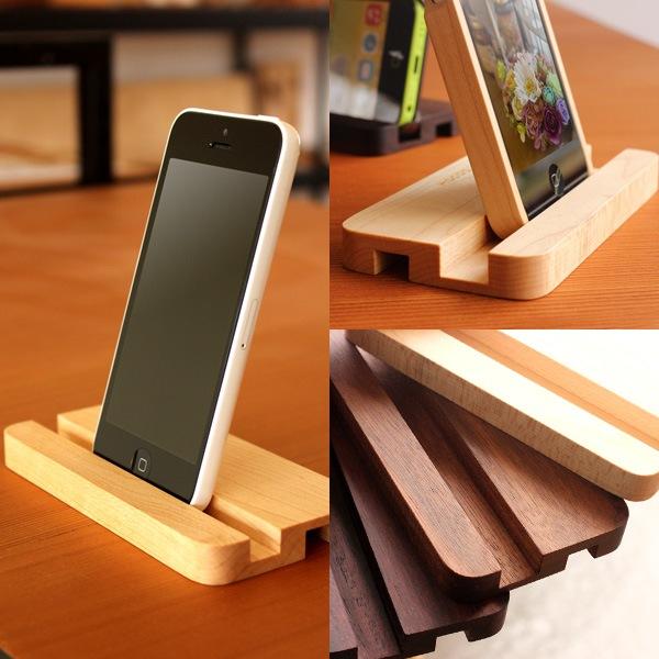 2つの溝が使いやすい、北欧風の木製iPhone5cスタンド