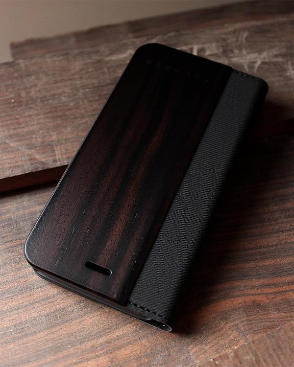 手帳型の木製スマートフォンケース iPhone8/iPhone7専用 黒檀ケース