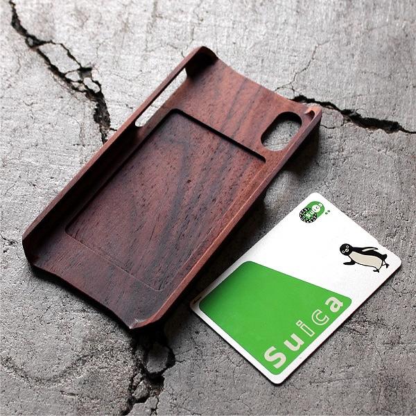 iPhone XRに対応した木製アイフォンケース。ICカードも利用可能