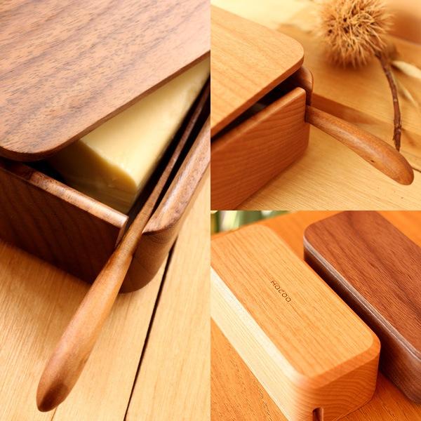 無垢材の塊を贅沢に削りだした木製バターケース