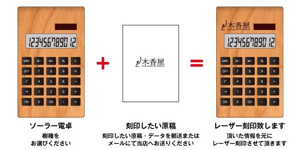 企業・店舗ロゴを刻印出来る木製ソーラー電卓。ノベルティにも。