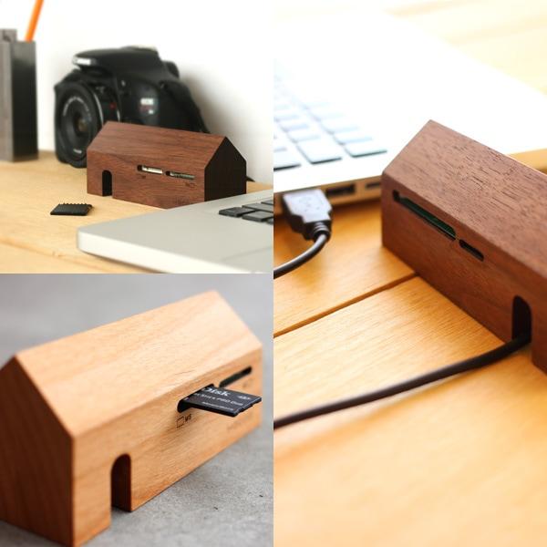 SDカード、microSD、メモリースティック、コンパクトフラッシュ対応の木製カードリーダー