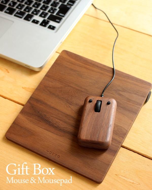 誕生祝や栄転祝いに最適。木製マウスと木製マウスパッドのギフトセット。