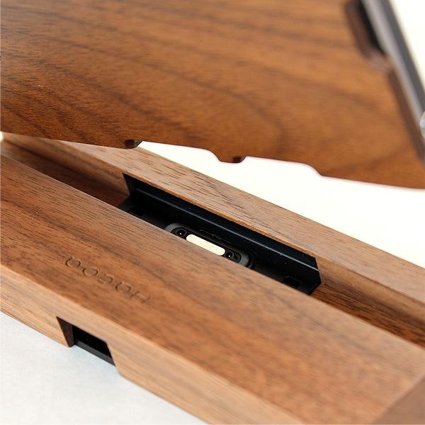 ウォールナットのスタンド、木製ケース使用時でも使えます