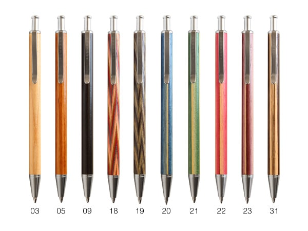 天然木の質感を活かしたカラフルなボールペン