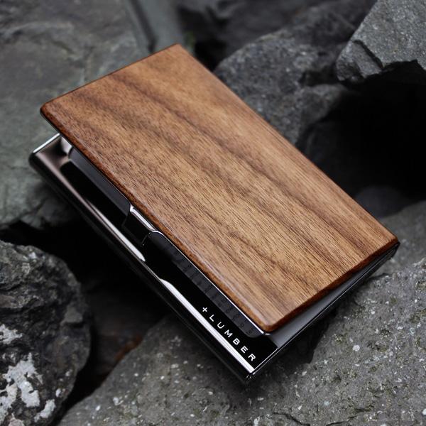 重厚感のあるステンレス素材と銘木をあわせた木製名刺入れ・カードケース