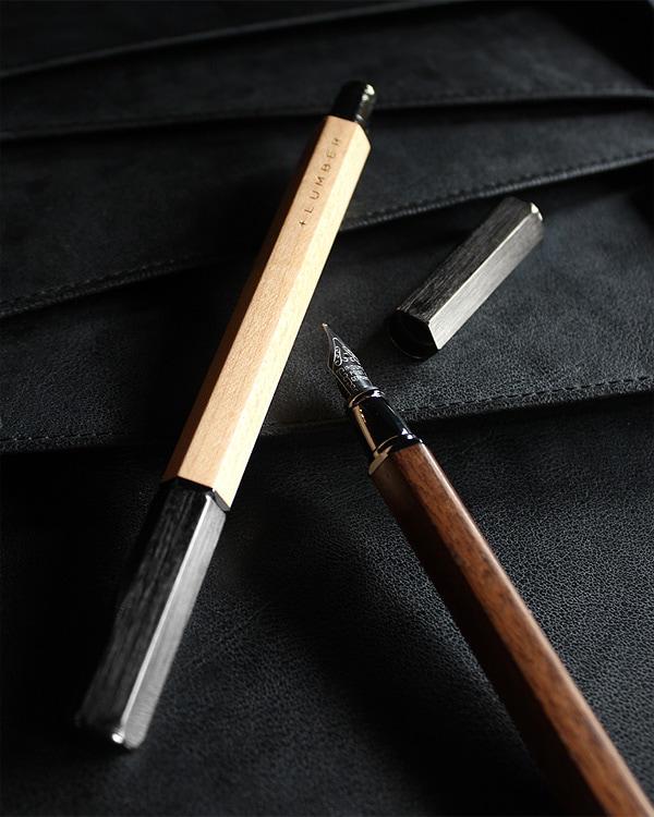 アルミニウムから削り出したボディに銘木をプラスした万年筆「FOUNTAIN PEN HEXAGON」