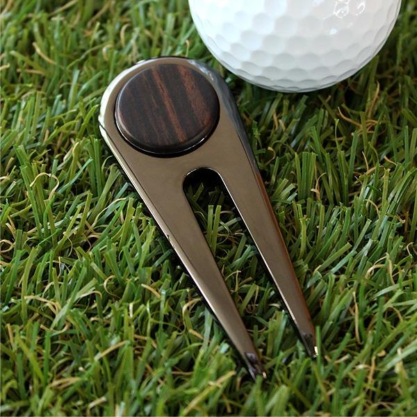 【プレミアムモデル】ゴルファーの必需品、木製グリーンフォーク「Golf Green Fork」黒檀