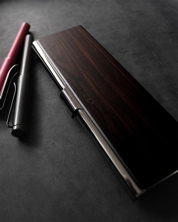ステンレスと木を組み合わせたおしゃれな黒檀の筆箱・ペンケース