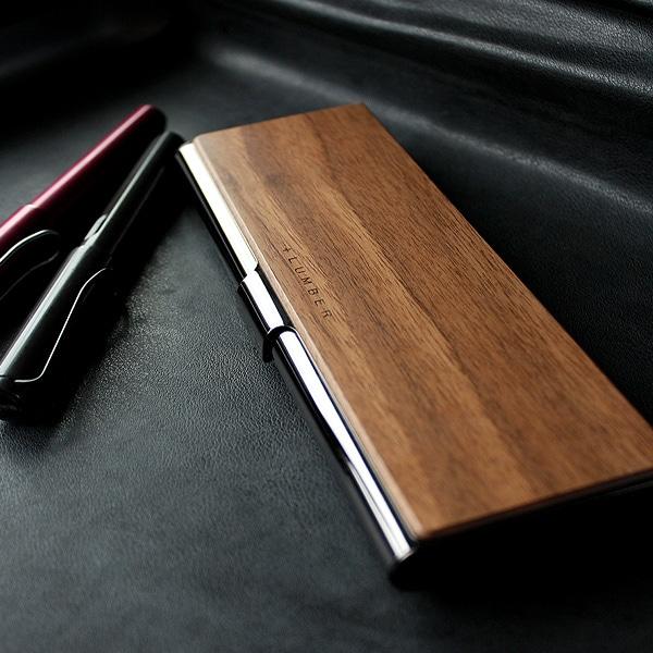 重厚感のあるステンレス素材と銘木をあわせた木製筆箱・ペンケース「PEN CASE」