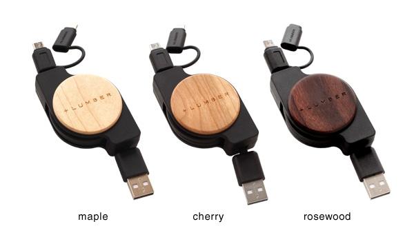 充電・データ転送用の巻き取り式コードケーブルにメープル・チェリー・ローズウッドの木をプラス
