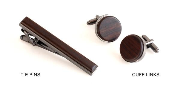高級木材黒檀を使用したタイピン・カフス