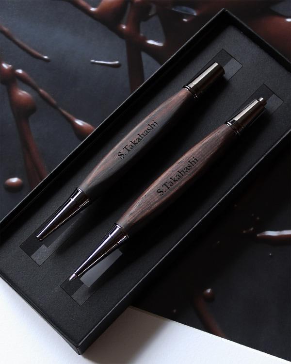 名入れ無料の木製ボールペン・シャープペンシル ギフトセット
