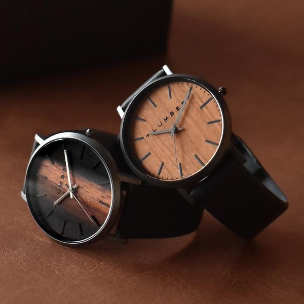 文字盤に本木目を使用した美しいシンプルな腕時計「WATCH 1100 ペアセット」