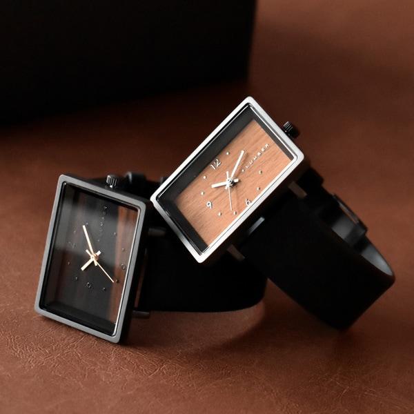 文字盤に本木目を使用したシンプルな四角い木の腕時計・ペアウォッチ「WATCH 1200」ギフトセット