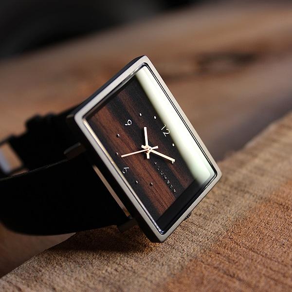 文字盤に本木目を使用したシンプルな四角い木の腕時計「WATCH 1200」メンズ/レディース スクエアウォッチ
