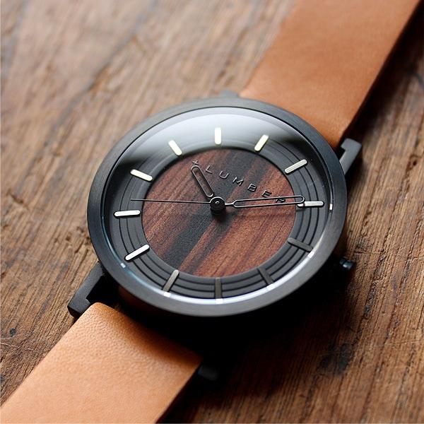 ステンレスケースと黒檀を組み合わせた木製腕時計
