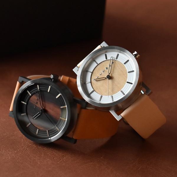 ステンレス削り出しケースに銘木を活用した木製腕時計ペアセット