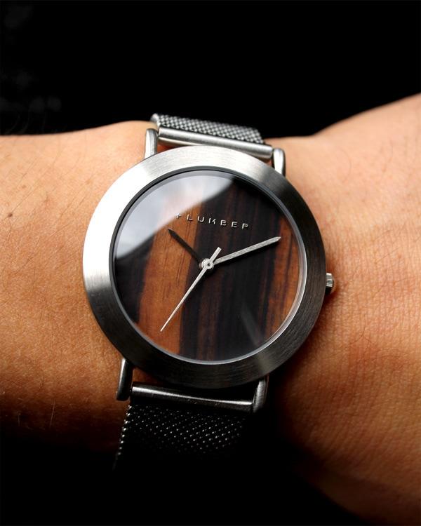 文字盤に本木目を使用したおしゃれな腕時計 WATCH 3300(スチール)