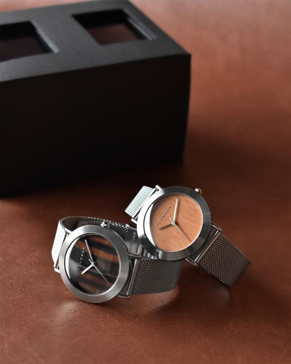 文字盤に本木目を使用したおしゃれなペアウォッチ・腕時計ペアセット