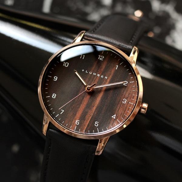 文字盤に本木目を使用した曲面ガラスが美しい木製腕時計/メンズ/レディース
