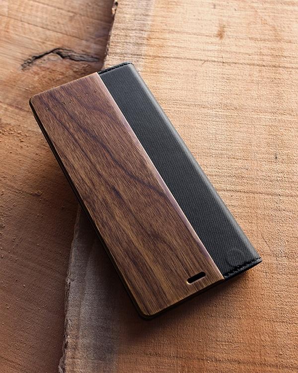 手帳型の木製スマートフォンケース Xperia5専用