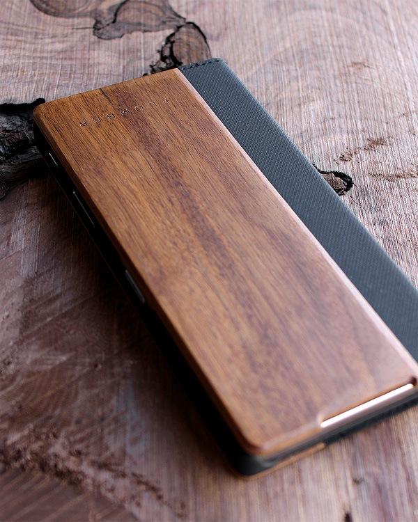 手帳型の木製スマートフォンケース Xperia™ Z5 Premium専用