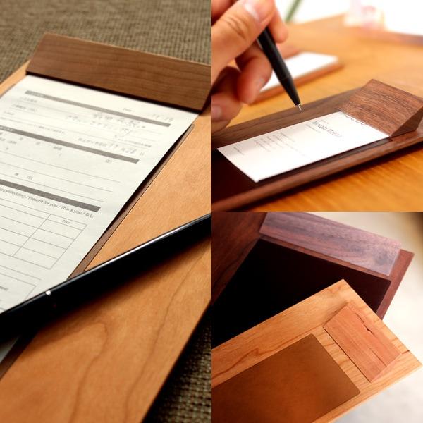 木と革が融合した木製クリップボード
