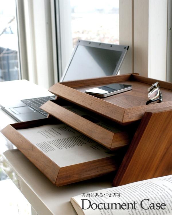 Hacoaブランドの無垢板を贅沢に使用した木製3段書類ケース「Document Case」