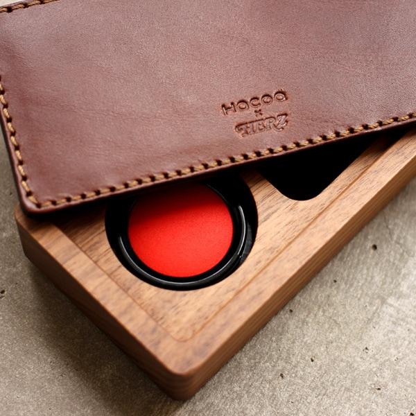 おしゃれな印鑑パッド付き木製ケース