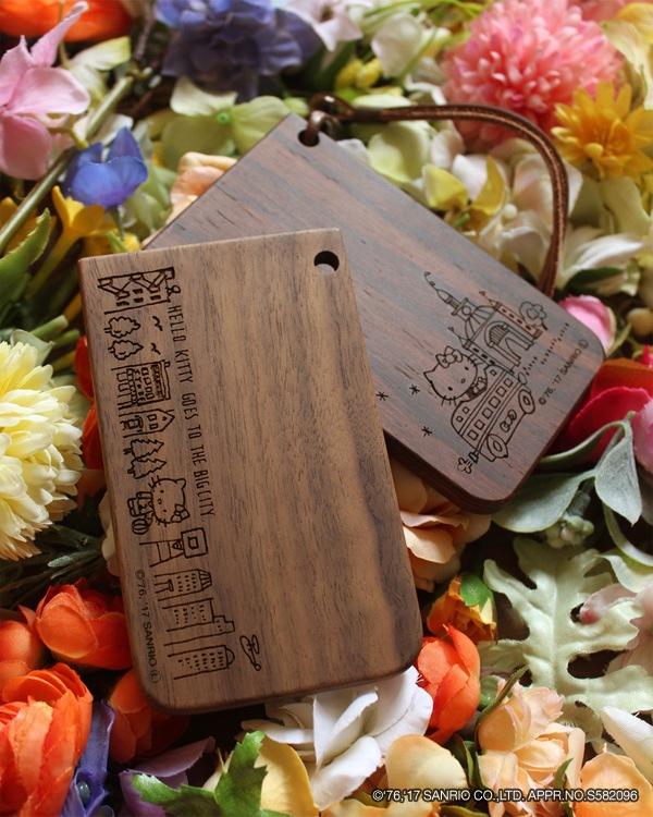 ハローキティの刻印がかわいい木製ICパスケース・カードケース定期入れ