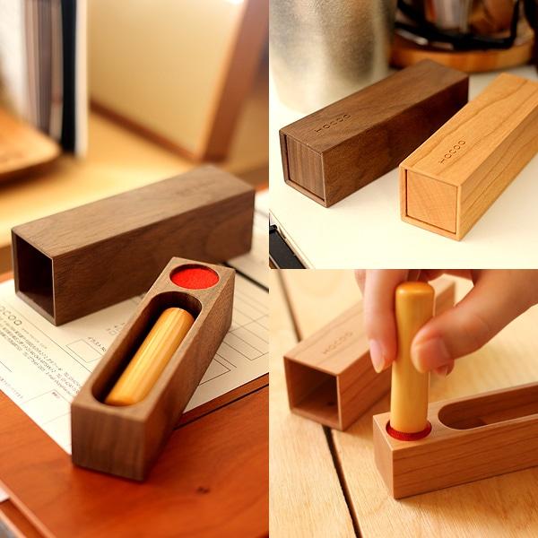 マグネットでしっかりとまる、おしゃれな木製印鑑ケース実印タイプ