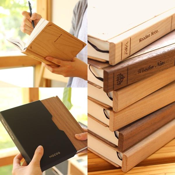 本棚におさめておくと可愛い木製ノート