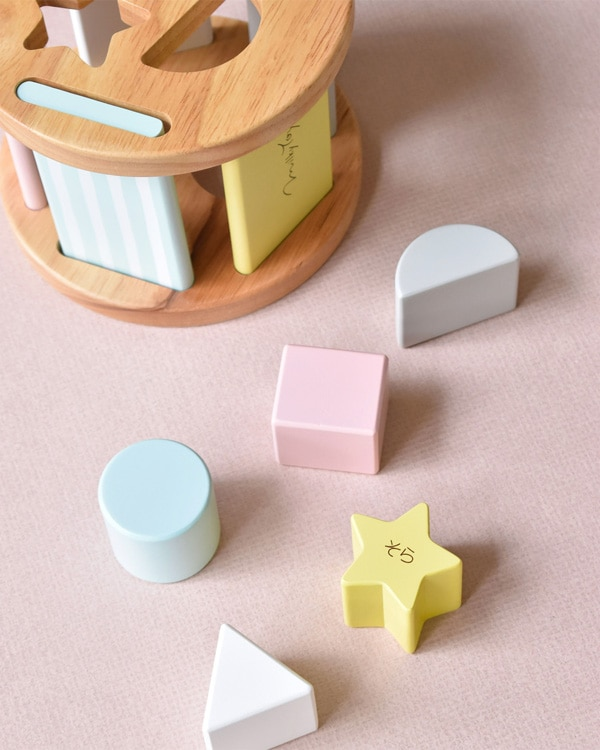 【名入れ込】やさしい色合いのボックスとブロックで遊ぶ型はめパズルセット「Sugar Box」