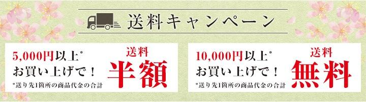 春限定「送料無料キャンペーン」5000円以上のお買い上げで送料半額、10000円以上のお買い上げで送料無料!