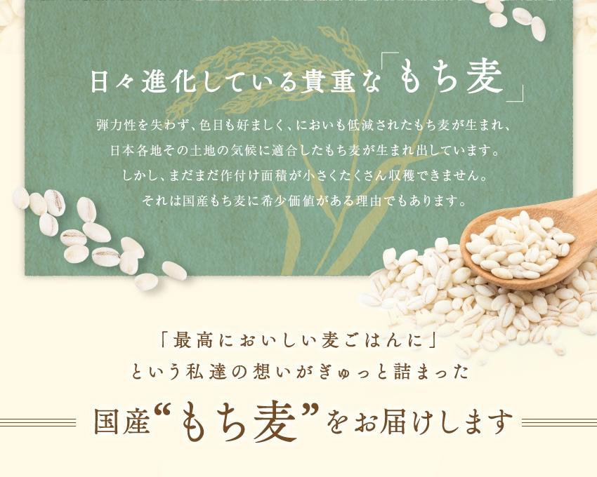"""日々進化している貴重な「もち麦」弾力性を失わず、色目も好ましく、においも低減されたもち麦が生まれ、日本各地その土地の気候に適合したもち麦が生まれ出しています。しかし、まだまだ作付け面積が小さくたくさん収穫できません。それは国産もち麦に希少価値がある理由でもあります。「最高においしい麦ごはんに」という私達の想いがぎゅっと詰まった国産""""もち麦""""をお届けします"""