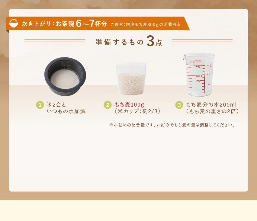 炊き上がり:お茶碗6〜7杯分 ご参考:国産もち麦800gの消費目安 準備するもの3点 1 米2合といつもの水加減 2 もち麦100g(米カップ:約2/3)3 もち麦分の水200ml(もち麦の重さの2倍)