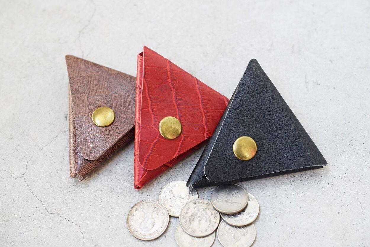 本革 コインケース レザー 三角