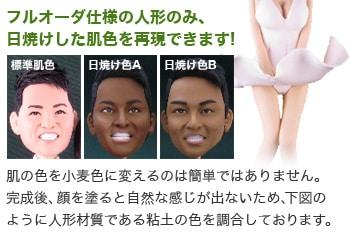 フルオーダ仕様のそっくり人形のみ、日焼けした肌色を再現できます!肌の色を小麦色に変えるのは簡単ではありません。完成後、顔を塗ると自然な感じが出ないため、下図のように人形材質である粘土の色を調合しております。