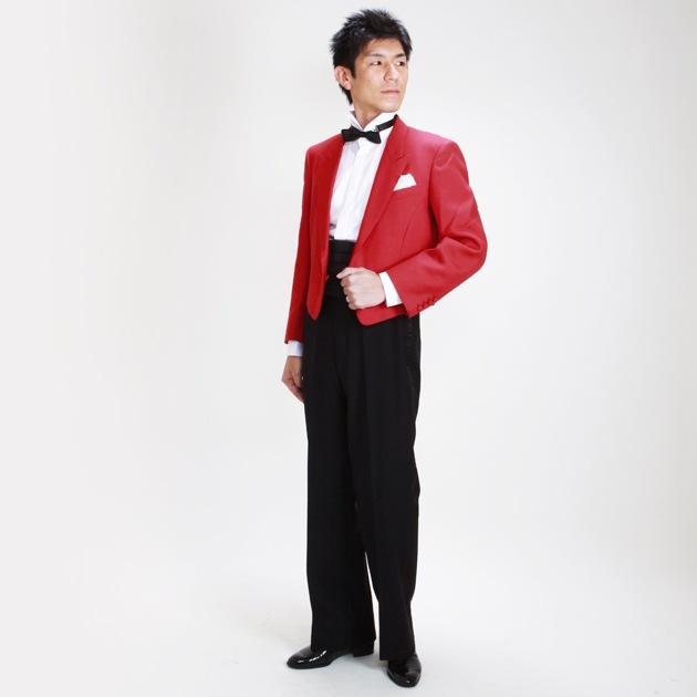 赤 タキシード レンタル全身画像